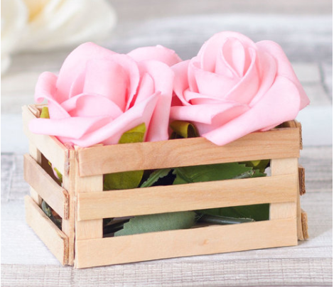 A homemade rustic wooden lolly stick mini crate a great gift basket