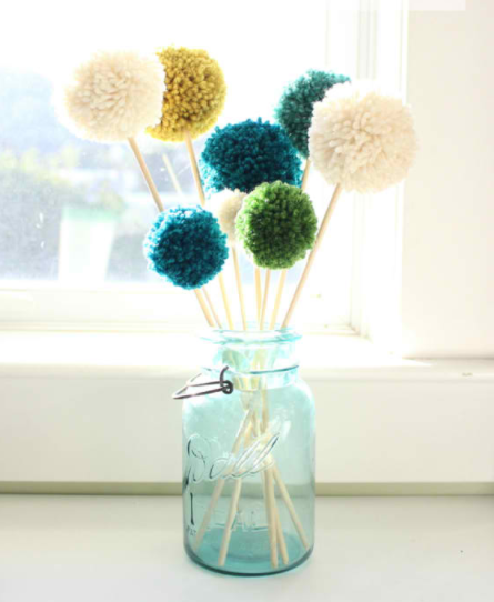 pompom flowers in a vase