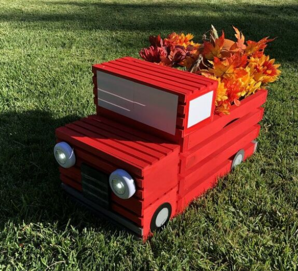 crate red pickup truck