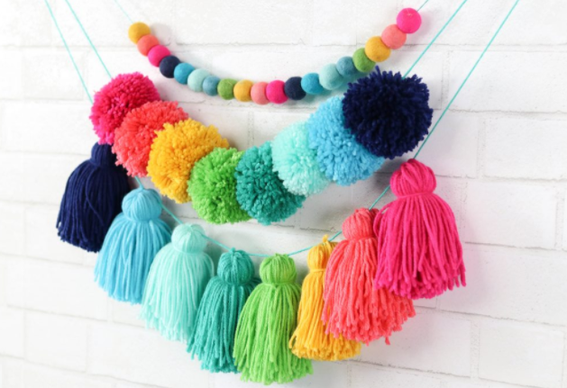 colorful pompom and tassel garland