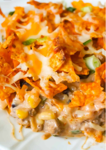 An easy dinner recipe doritos caserole with ground beef a hearty meal for the family