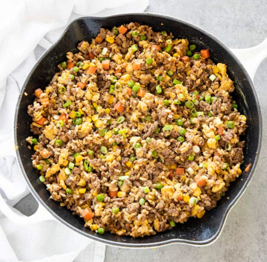An easy to make ground beef fried rice in under 30 minutes
