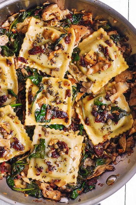 Italian Ravioli with spinach, artichokes, capers,  and sun-dried tomatoes