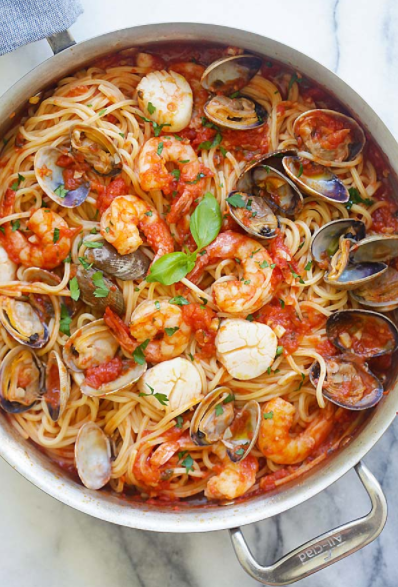 Seafood pasta with homemade tomato pasta sauce