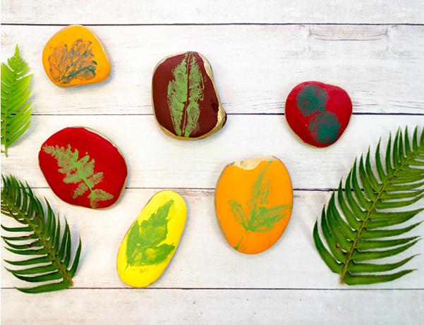 leaf painted rocks