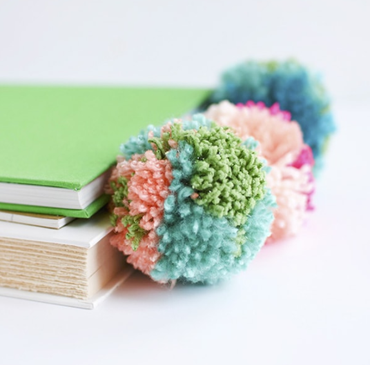 pompom bookmarks using colorful soft leather