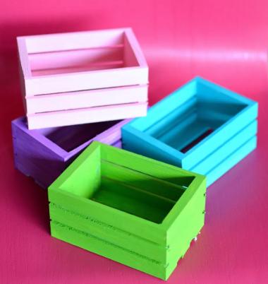 Colorful mini wooden crates organizer