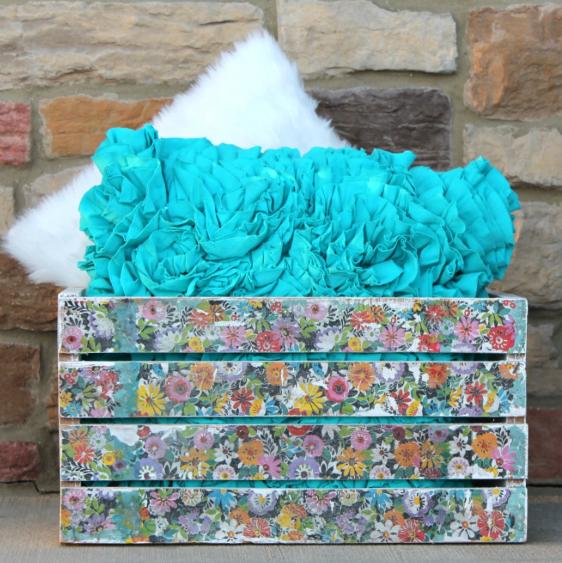 Floral decoupage napkin crate