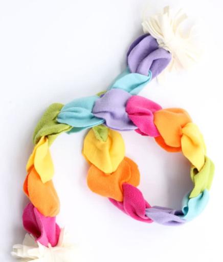 A no-sew rainbow fleece scarf