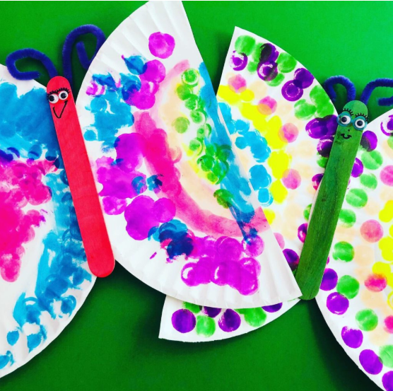 Paper plate butterflies colored with Neon Dot Markers