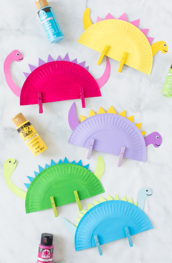 Colorful dinosaur paper plate crafts perfect for dinosaur loving kids