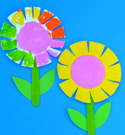 Beautiful paper plate flower craft