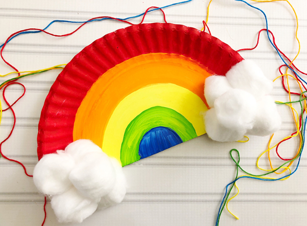Paper plate rainbow craft perfect to hang them in your rooms or in your windows