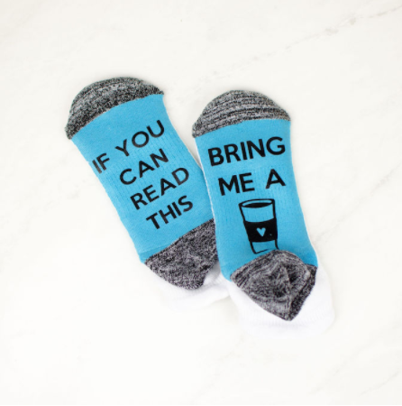 personalized iron-on socks with text saying If you can read this bring me a image of a coffee cup