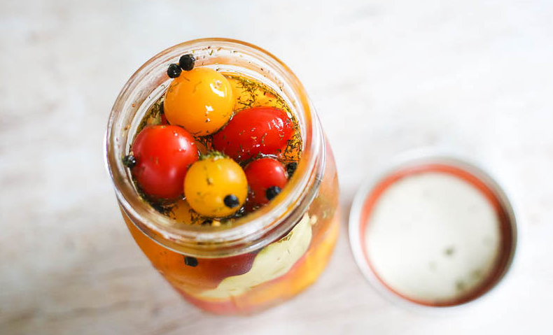 a healthy antioxodant pickled cherry tomato packed with vitamin c to enhance immunity
