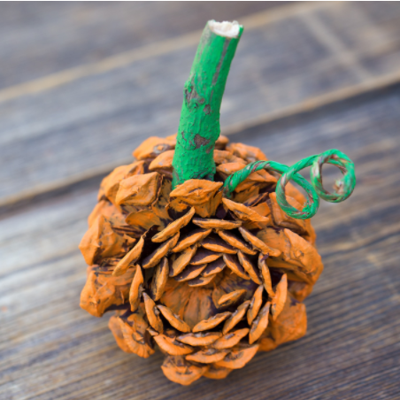 A pine cone painted orange and added a stick on top of it to look like a pumpkin