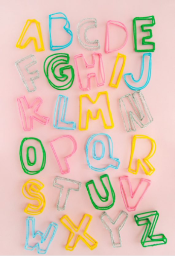 alphabet made from pipe cleaners