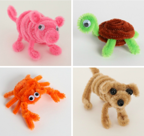 adorable pig, turtle, crab, and dog made from pipe cleaners