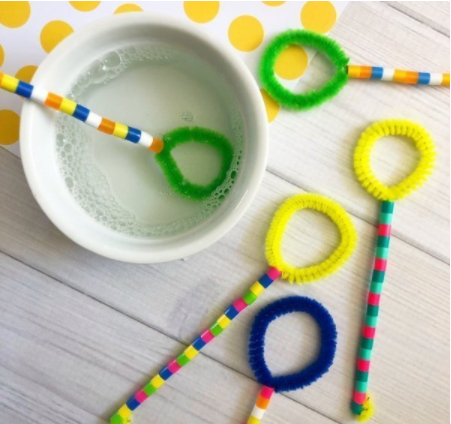 bubble wands made from pipe cleaners