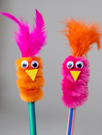 pipe cleaner bird pencil toppers