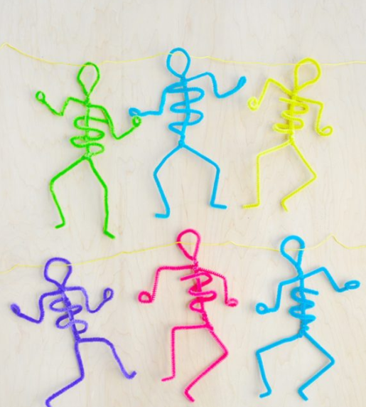 funny skeletons made from pipe cleaners