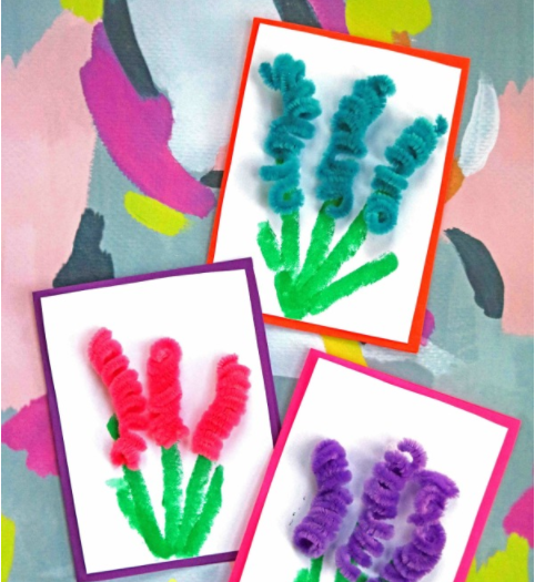 pipe cleaner flower greeting cards