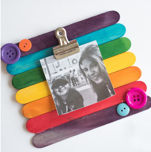 A picture frame made of popsicle sticks a fun and entertaining crafts for kids