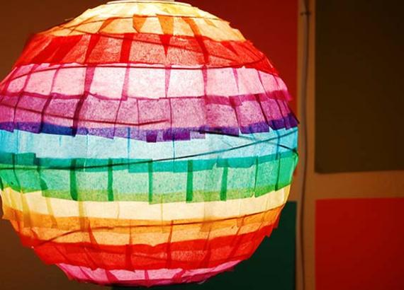 A round rainbow color paper lantern