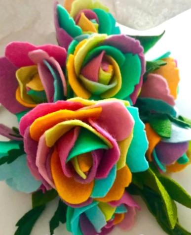 Rainbow felt roses