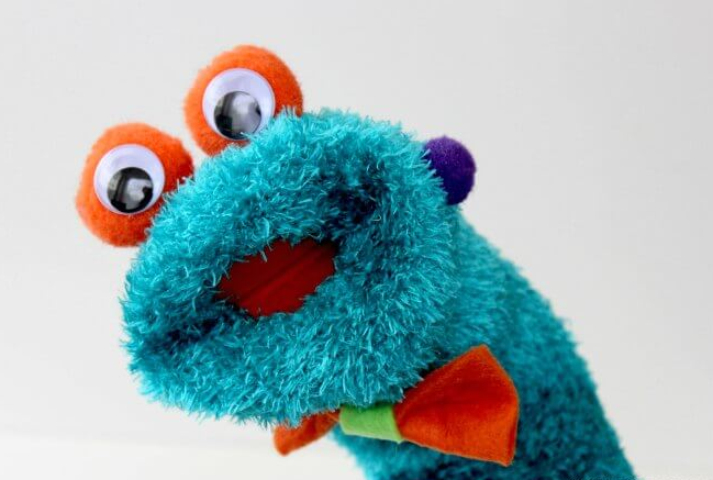 cutest sock puppet with googly eyes