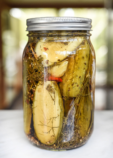 A healthy and fresh killer spicy garlic dill pickels