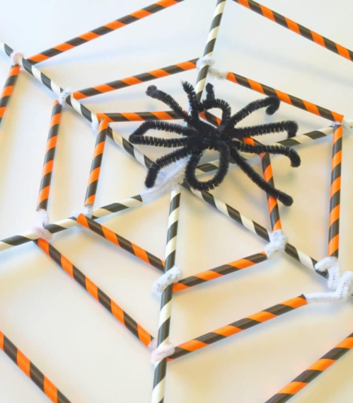 pipe cleaner spider and web