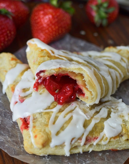 A buttery and flaky strawberry turnovers