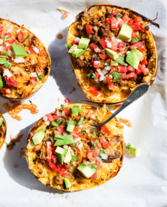 A taco spaghetti squash boats for dinner