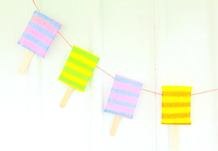 A cute and easy to make popsicle banner perfect decoration