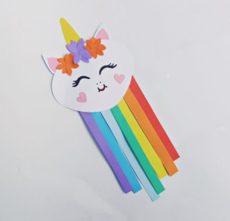 A cute unicorn face with rainbow colored strips body