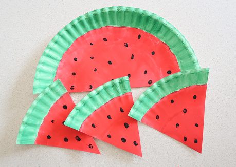 Watermelons paper plate perfect to turned as mobiles or garlands for a summer party