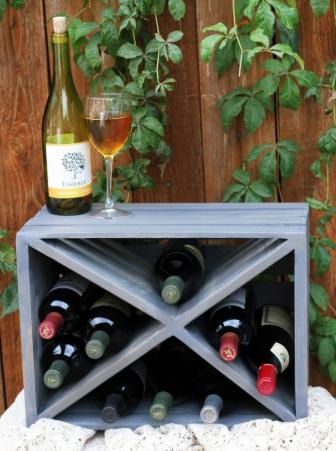 Wooden crate wine rack