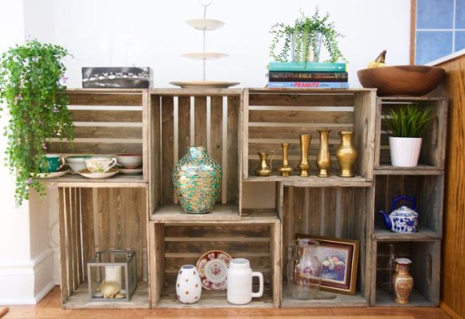 Wooden crate display shelf