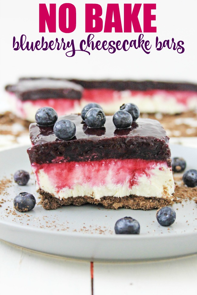 A delicious no bake blueberry cheesecake bars with graham cracker crust a summer dessert