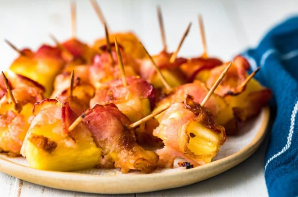 Bacon wrapped pineapple a great game day appetizer