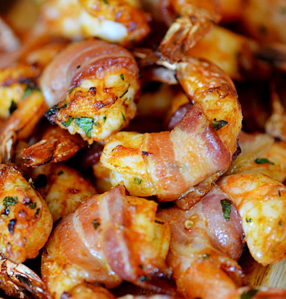 Bacon wrapped shrimps
