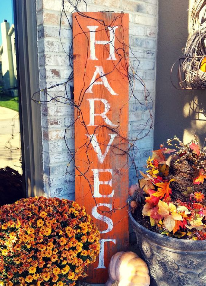 harvest barnwood sign for fall holiday craft decor