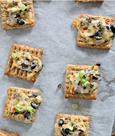 Cheesy olive crackers snacks