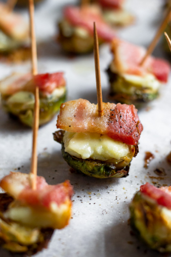 Crispy Brussels sprouts with bacon and cheese