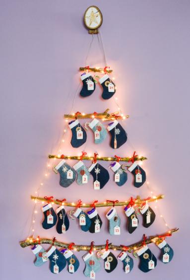 denim diy reusable mini stocking advent calendar christmas holiday craft decor