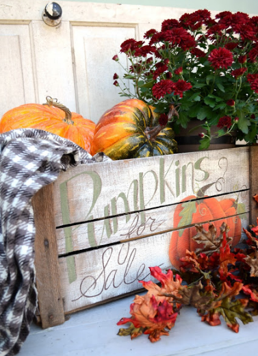 distressed pumpkin crate for the fall holiday craft decor