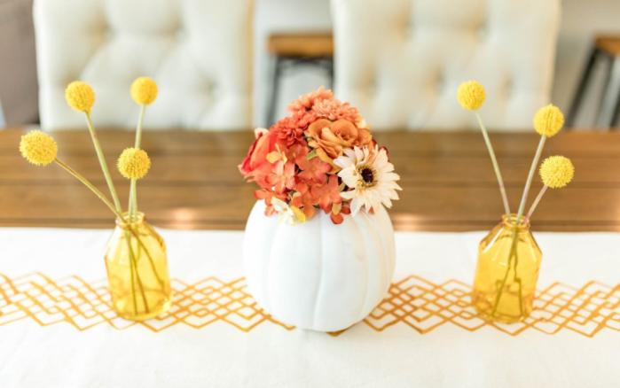 Fall floral pumpkin centerpiece