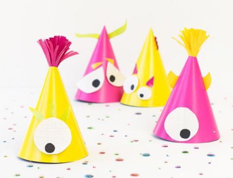 Colorful Halloween monster party hats