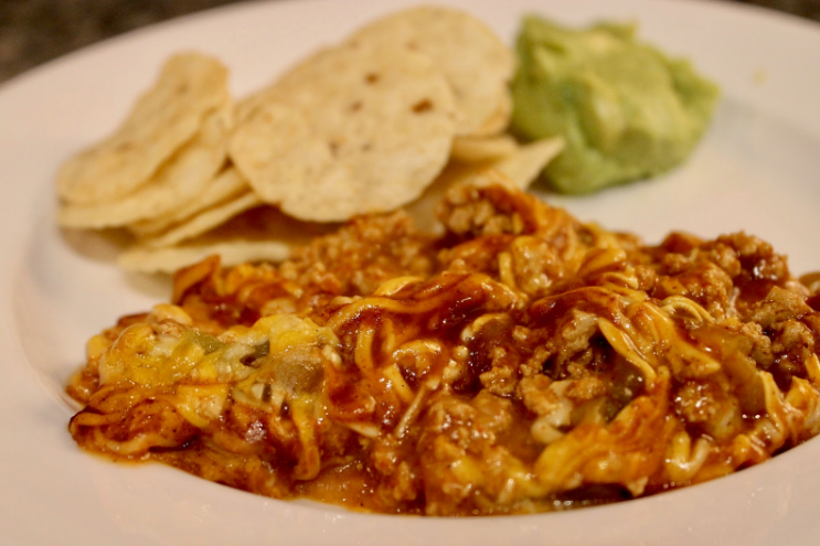 Easy baked Mexican dip served with tortilla chips